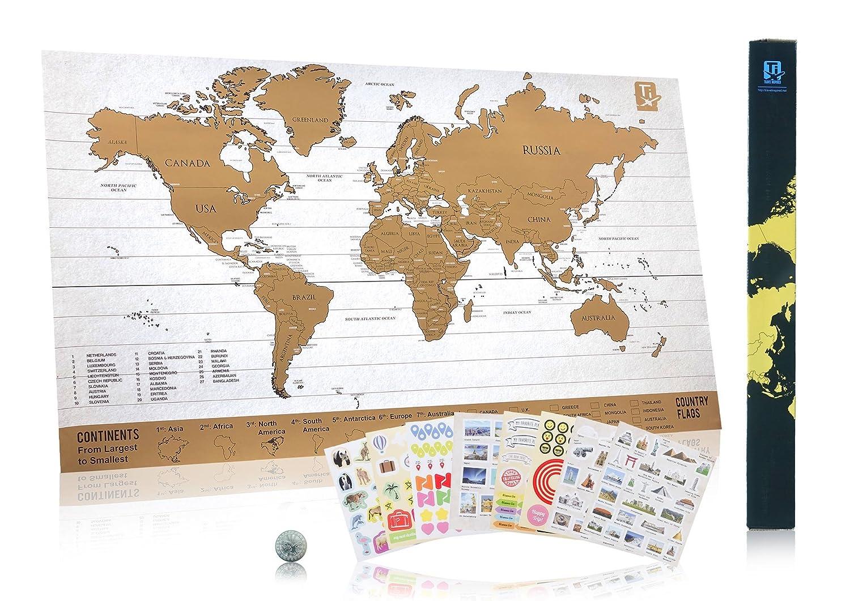 Scratch Wanderlust Mapas Clasicos - Utilice nuestra moneda para rasgar fácilmente - El mapa incluye 229 pegatinas de viaje - Comparta sus historias de ...