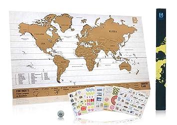 Carte Du Monde A Gratter QuotScratch Wanderlust Mapquot Piece De Monnaie Incluse