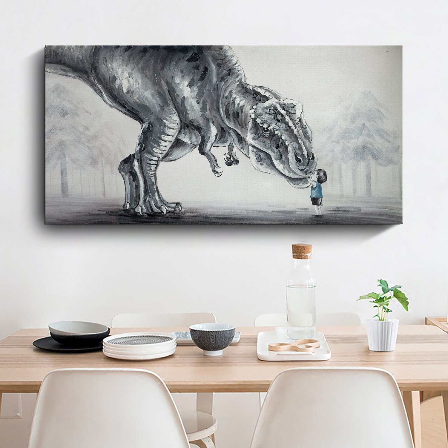 3 Dinosaur Dot Black White Grey Prints Trex Nursery Wall Art Decor Room Pictures