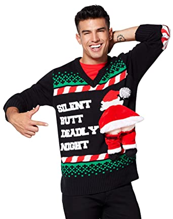 622e1a3ad0bbc Amazon.com  Silent Butt Deadly Ugly Christmas Sweater  Clothing