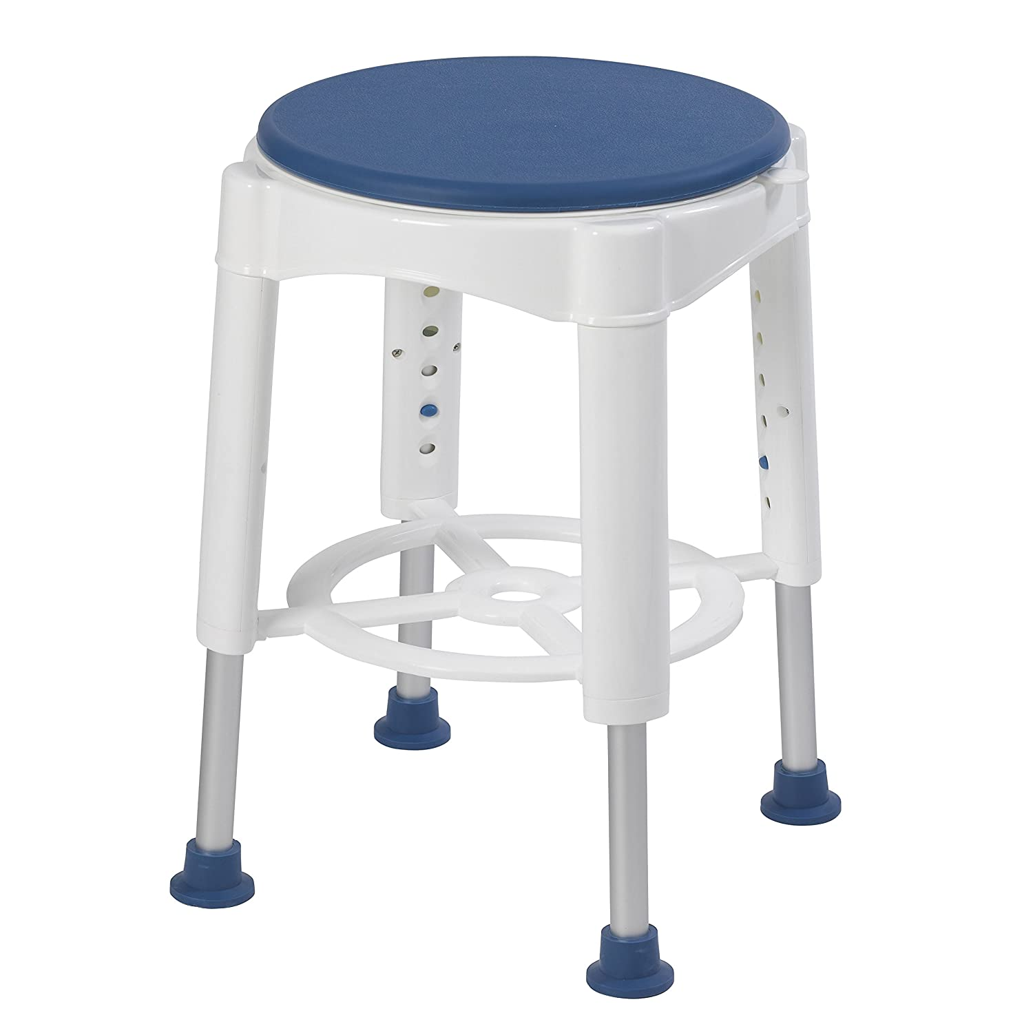 Amazon.com: Drive Medical Bath Stool With Padded Rotating Seat, White With  Blue Seat: Health U0026 Personal Care
