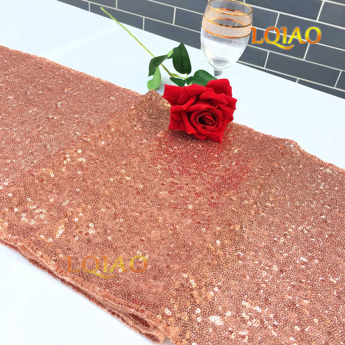LQIAO Christmas Table Runner Sequin 12x108-in, Rose Gold, Shiny Fabric Birthday/Wedding/Party Decoration(wholesale Possible), Pack of 20 PCS by LQIAO