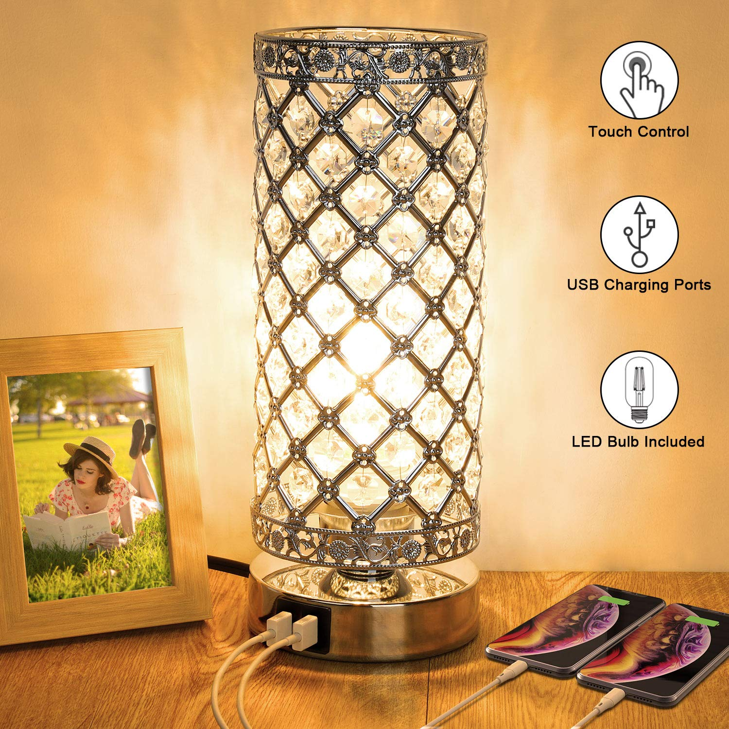 Crystal Touch Control Table Lamp with Dual Fast USB Charging Ports, 3-Way Dimmable Decorative Bedside Nightstand Desk Lamps for Bedrooms Living Room, Small Night Light Lampshade, T45 LED Bulb Included