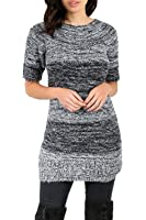Oops Outlet Womens Marl Knitted Short Sleeve Round Neck Long Tunic Jumper Dress