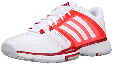 premium selection 782b3 6174e adidas Performance Women s Barricade Team 4 W Tennis Shoe, White White Solar  Red