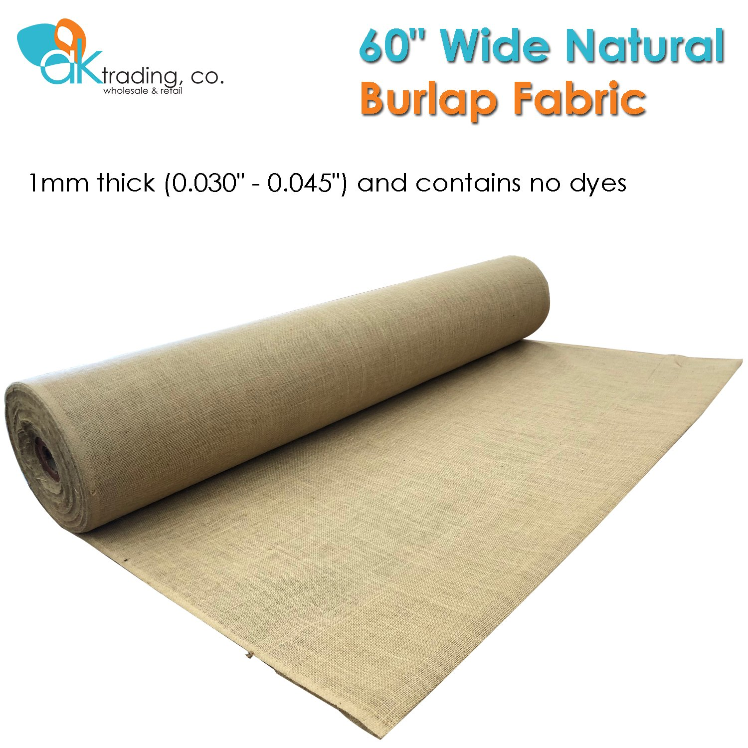 AK-Trading 60'' Wide Hessian Natural Jute Decoration Burlap Fabric (60'' x 20 Yards), for Arts, Crafts, Interior Design Projects