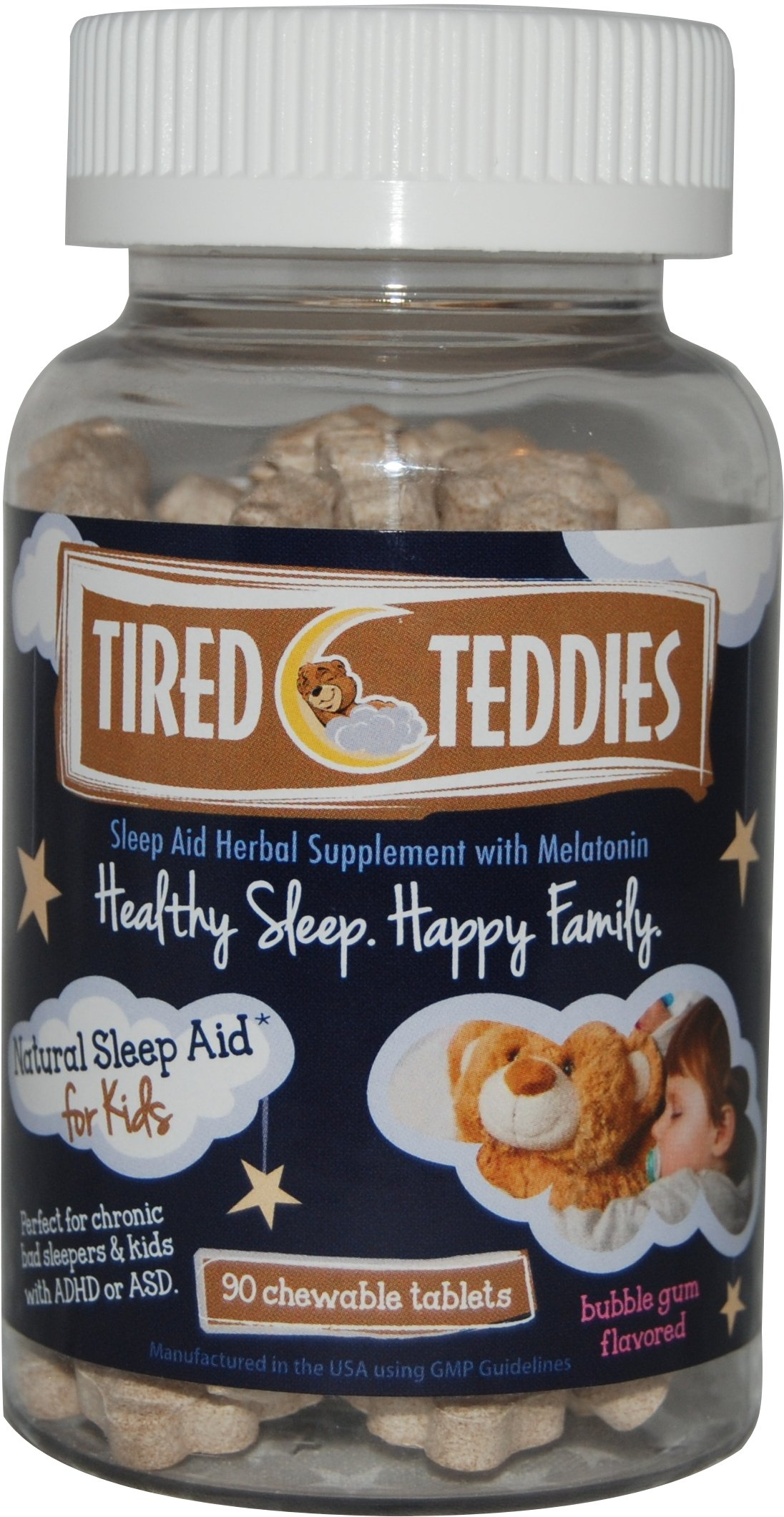 Tired Teddies Natural Sleep Aid for Kids - 90 Tablets; Low Dose Melatonin for Kids
