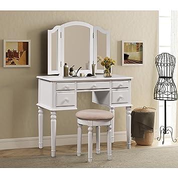 Merax Vanity Set W/ Stool Make Up Dressing Table Bedroom Dressing Table  (White