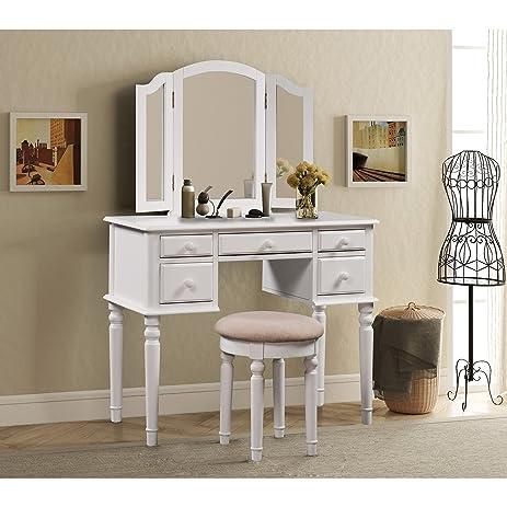 Amazon.com: Merax Vanity Set w/ Stool Make-up Dressing Table ...