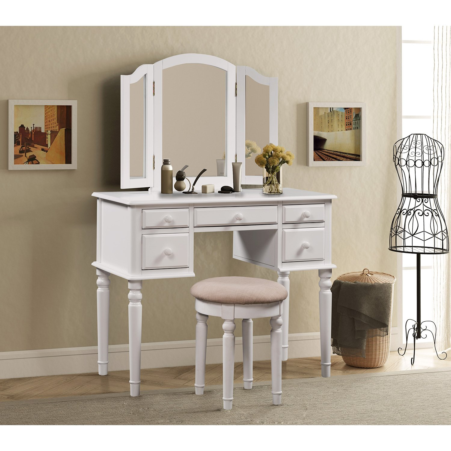 Merax Vanity Set w/Stool Make-up Dressing Table Bedroom Dressing Table (White)