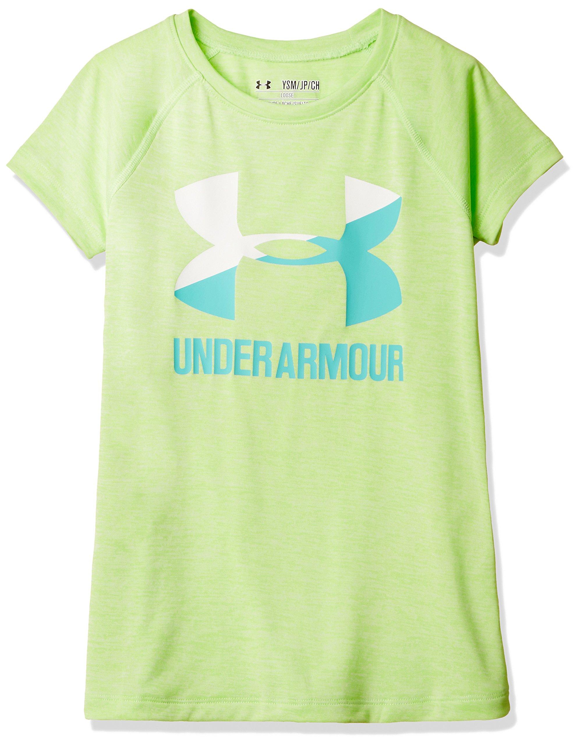 Under Armour Girls' Novelty Big Logo Short Sleeve T-Shirt,Summer Lime/Absinthe Green, Youth Medium