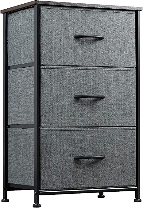 Amazon Com Wlive Dresser With 3 Drawers Fabric Storage Tower Organizer Unit For Bedroom Hallway Entryway Closets Sturdy Steel Frame Wood Top Easy Pull Handle