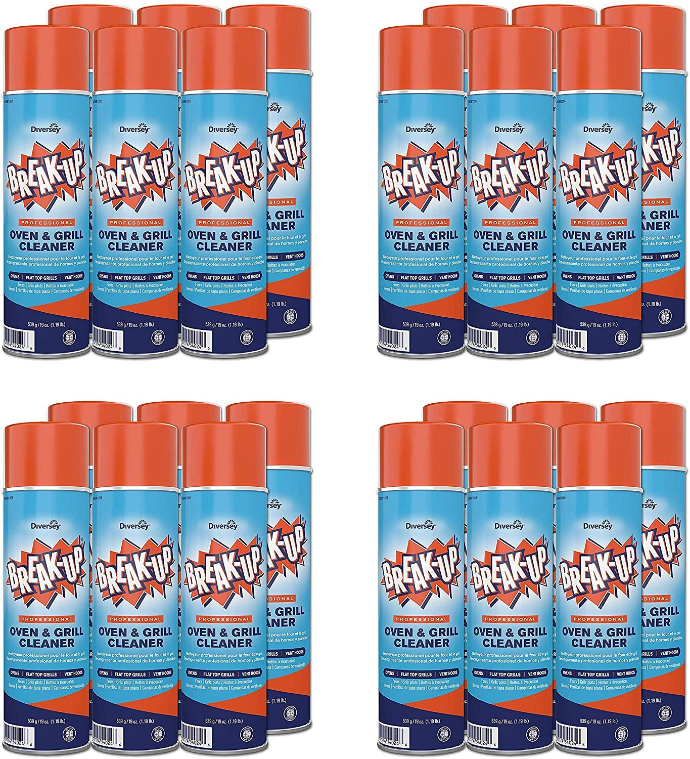 Diversey Break-Up Professional Oven & Grill Cleaner, Aerosol, 19 oz. (4 X Pack of 6) by Diversey