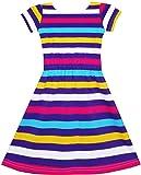 Sunny Fashion JF12 Girls Dress Colorful Striped