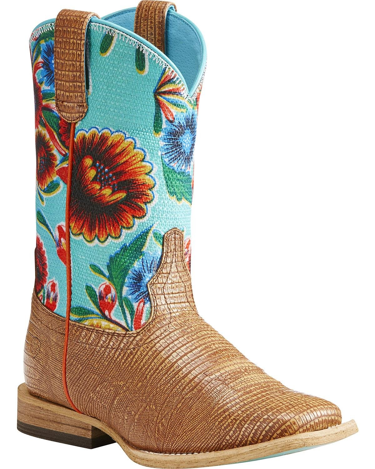 Ariat Kids' Gringa Western Boot, Natural Lizard Print/Turquoise Oil Cloth Print, 6 M US Big Kid