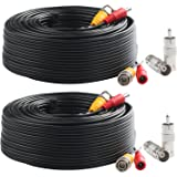 Postta BNC Video Power Cable (2 Pack 100 Feet) Pre-Made All-in-One Video Security Camera Cable Wire with Four Connectors…