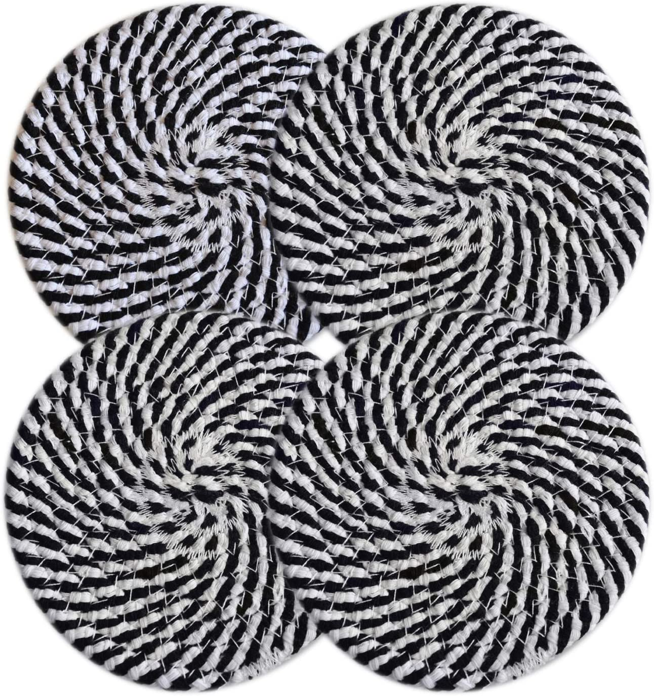 100% Pure Rope Thread Weave Hot Pot Holders Set (Set of 4), Hot Mats Thread Weave Round Drink Coasters Set of 4 by 4.3 Inches, Cup Coasters for Drink Home Kitchen