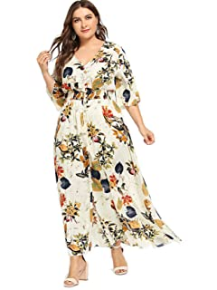5f81c79d50 Milumia Plus Size Button up Maxi Party Dress Half Sleeves Prom Dress for  Special Occasion Fit
