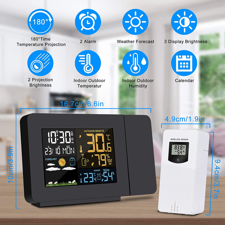 1x LCD Wetteruhr Temperatur Projektionsuhr Luftfeuchtigkeit Projektionswecke