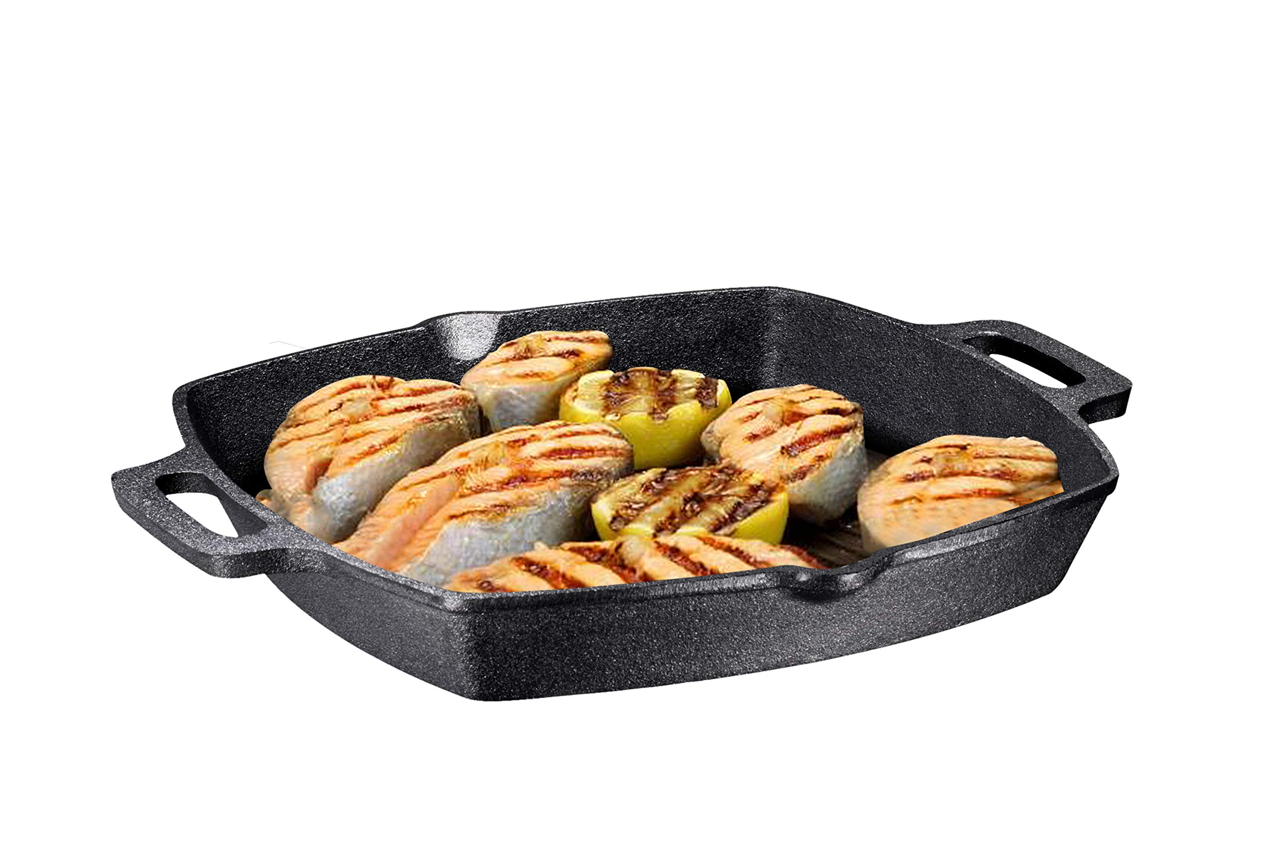 13 Inch Square Cast Iron Grill Pan Steak Pan Pre-seasoned Grill Pan with Easy Grease Drain Spout, with Large Loop Handles with Easy Grease Draining for Grilling Bacon, Steak, and Meats.