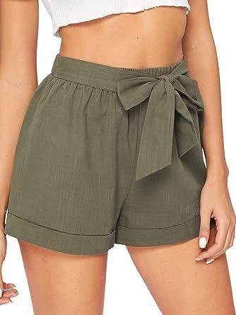 WDIRARA Women's Casual Elastic Paperbag Waist Self Tie Summer Beach Shorts