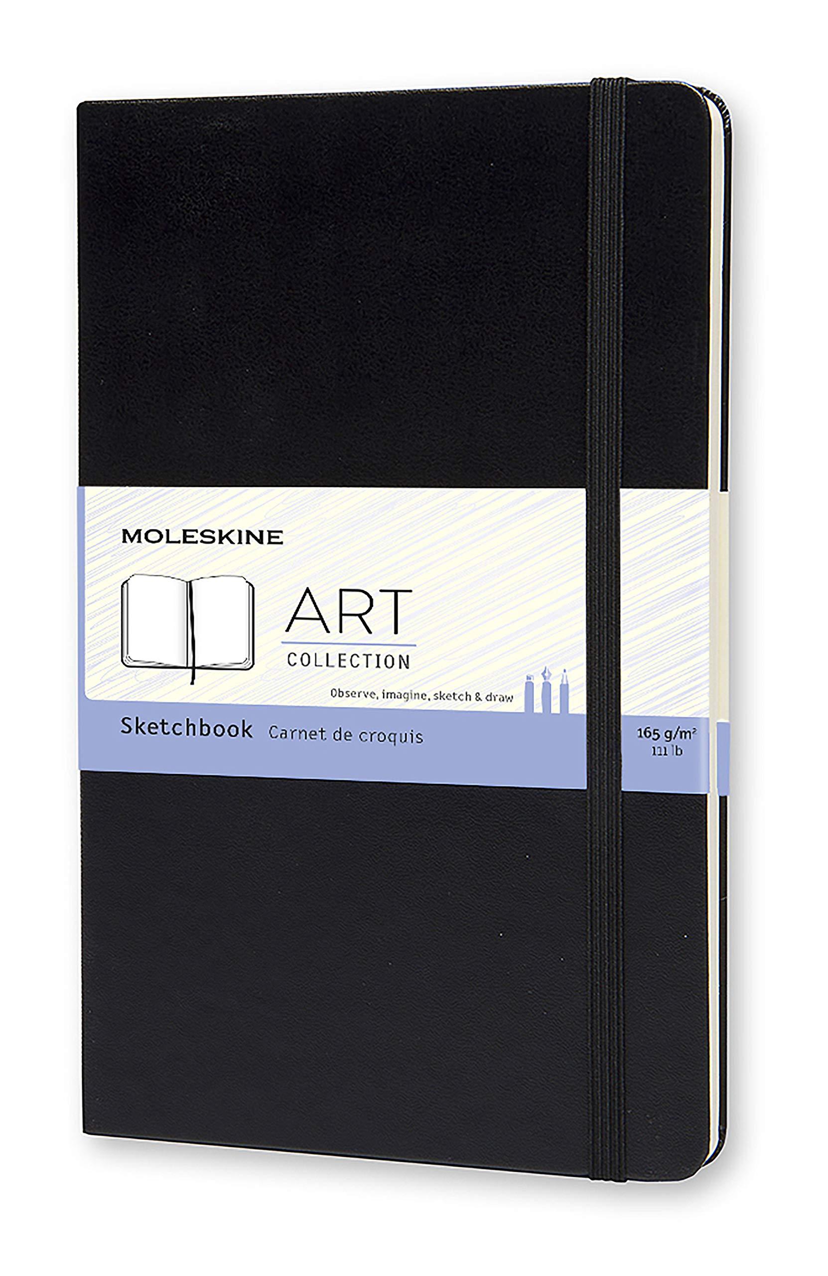 Moleskine Art Sketchbook, Hard Cover, Large (5'' x 8.25'') Plain/Blank, Black by Moleskine