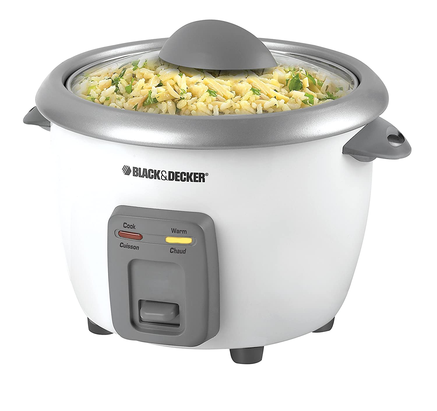 BLACK+DECKER 3-Cup Dry/6-Cup Cooked Rice Cooker, White, RC3406C
