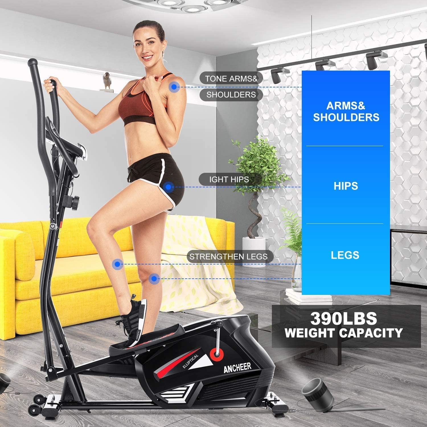 Indoor Mini Pedal Exerciser Electric Desk Elliptical Machine Trainer with Built in Display Monitor Quiet /& Compact ANCHEER Under Desk Cycle