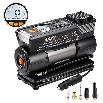 Tacklife ACP1C - Compresor de aire para coche, bomba de aire digital portátil para coche