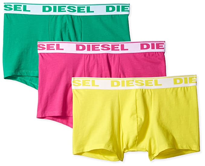 Diesel Boxeador Troncos 3-pack Fresco Y Brillante Hombres, Limón/verde/rosa: Amazon.es: Ropa y accesorios