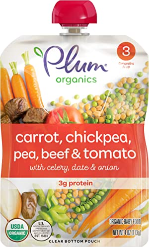 Plum Organics Stage 3, Organic Baby Food, Carrot, Chickpea, Pea, Beef & Tomato, 4oz Pouch (Pack of 6)