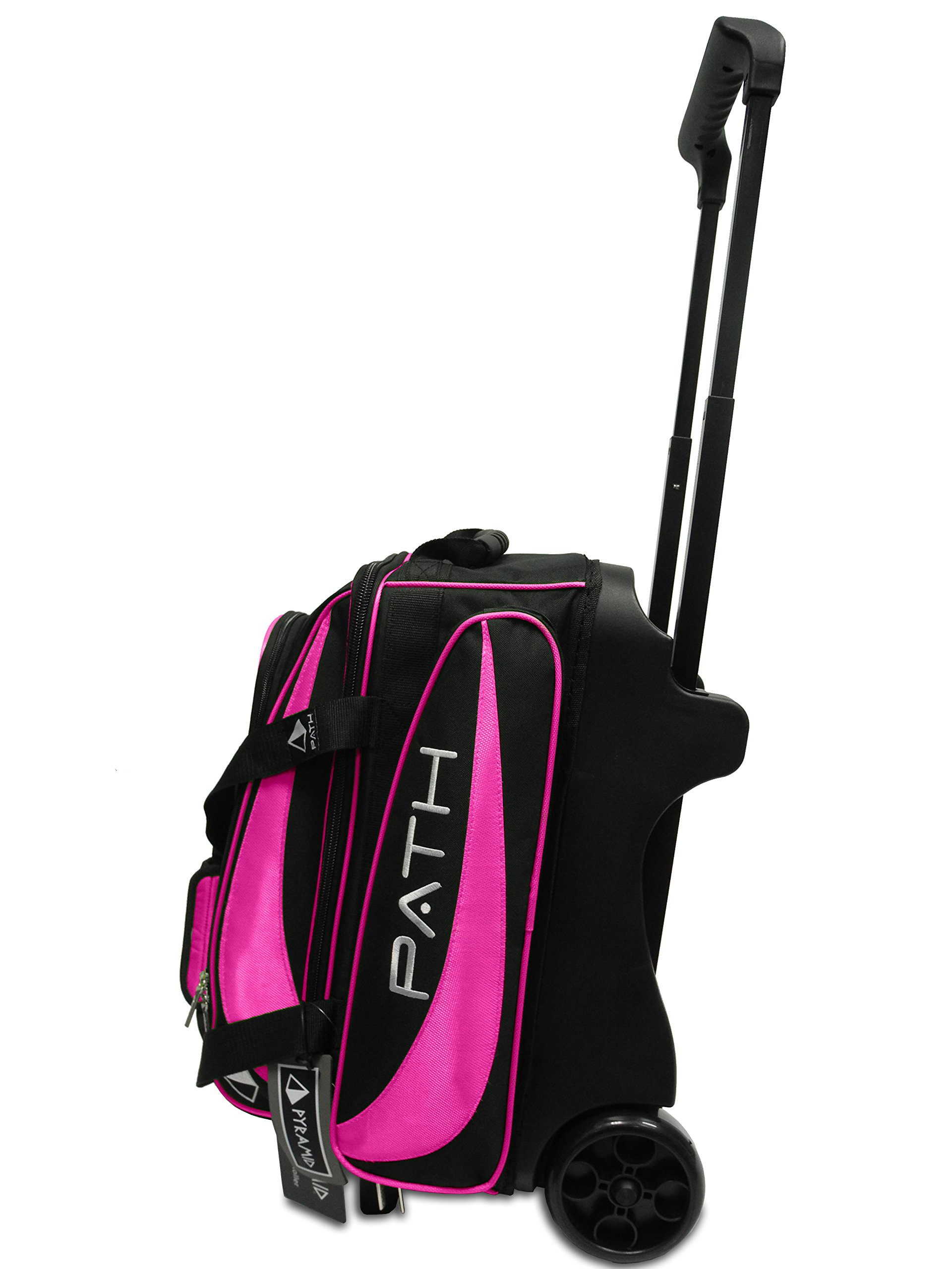 Pyramid Path Premium Deluxe Double Roller Bowling Bag (Black/Hot Pink)