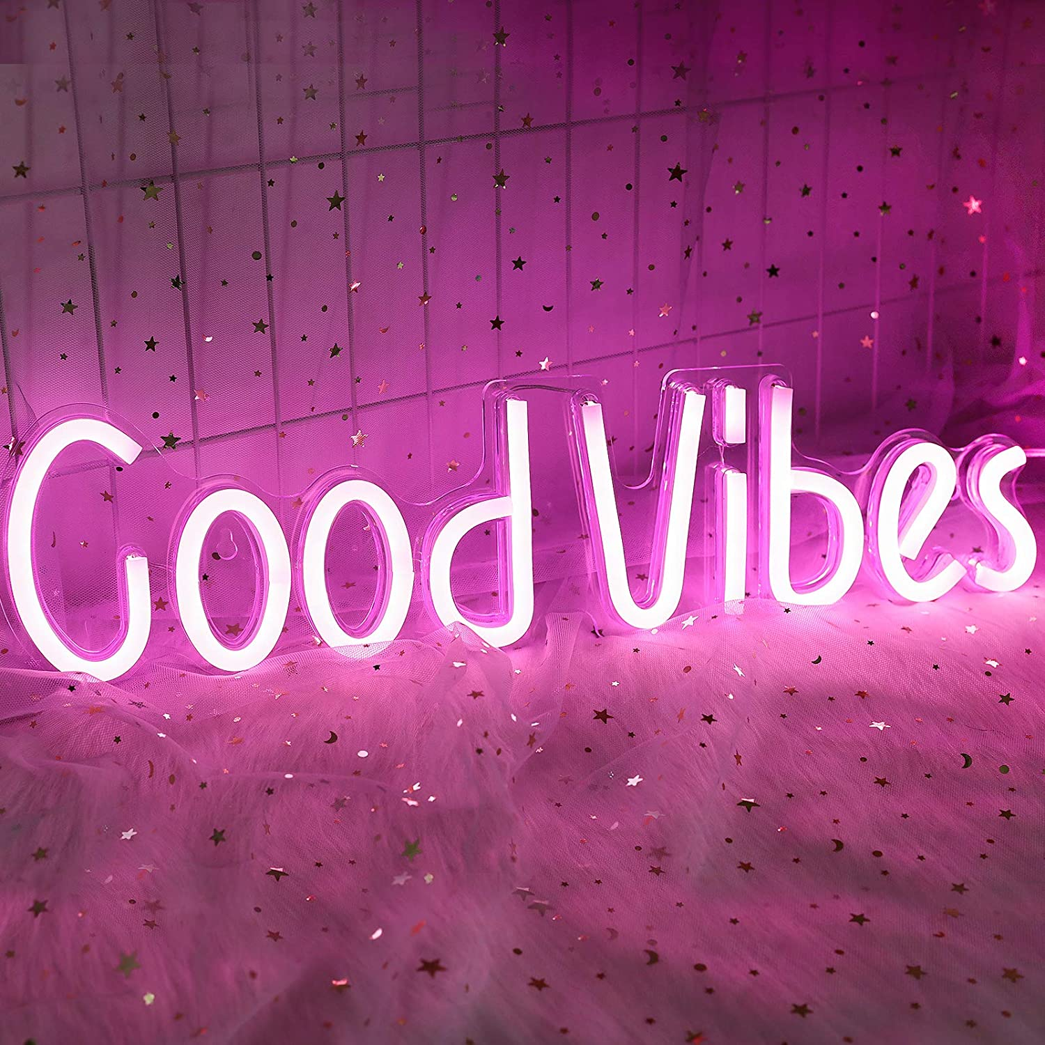 ifreelife Good Vibes Neon Signs(19.5''×5'') Good Vibes Words Neon Lights Acrylic Board Led Signs Room Decor Light for Bedroom Beer Bar Pub Hotel Party Restaurant Game Room Wall Decoration Pink Light