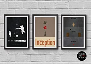 Christopher Nolan Minimalist Poster Set of 3 Films Interstellar Inception The Prestige Print Collectibles Cult Movies Wall Artwork Home Decor Hanging Cool Gift