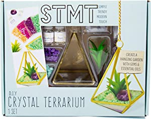 STMT DIY Crystal Terrarium by Horizon Group USA, Make Your Own Hanging Garden. 1 Glass Terrarium, 2 Gemstones, 1 Faux Plant, Colored Sand, Colored Rocks & Essential Oils Included