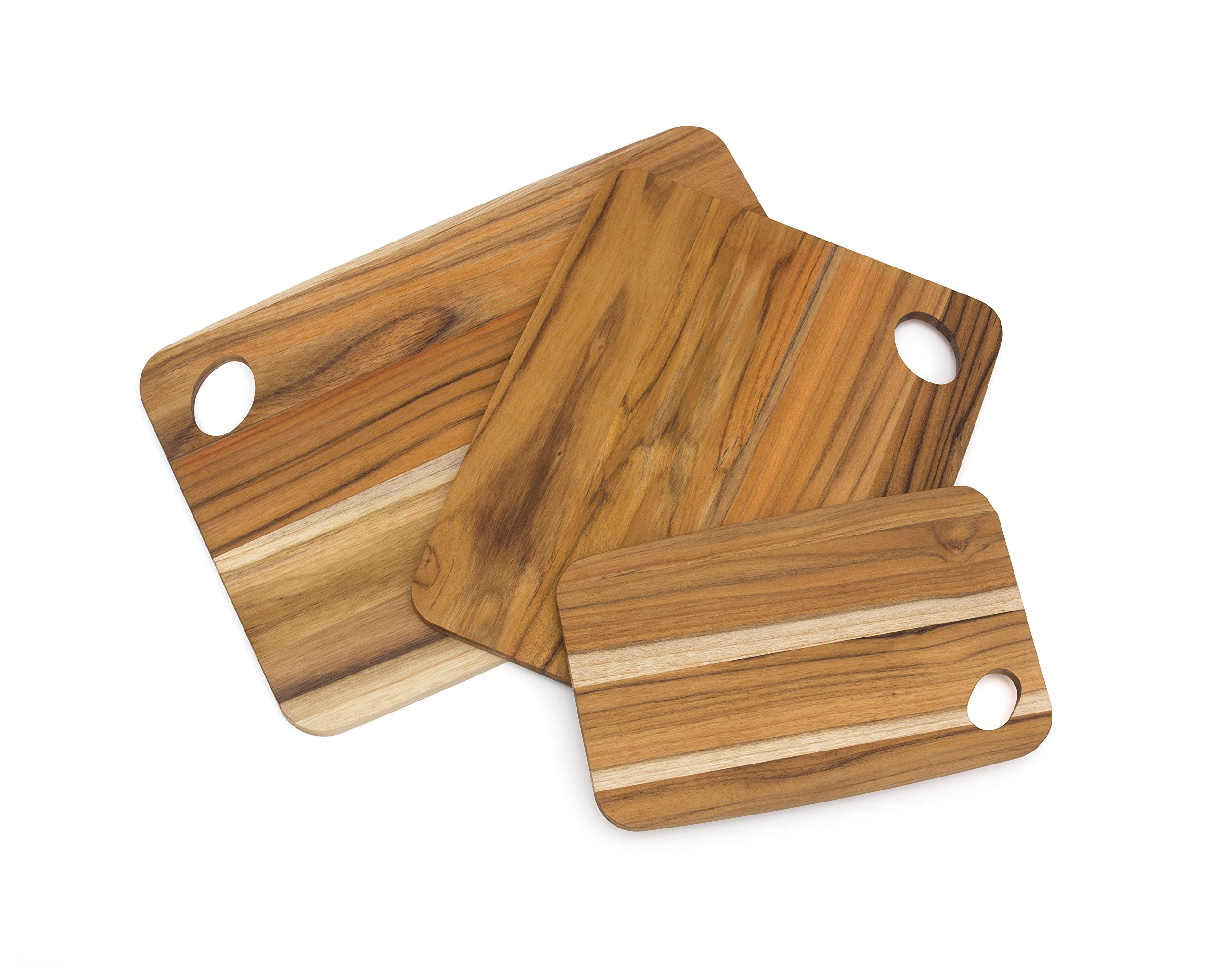 Lipper International 7239 Teak Wood Cutting Boards with Oval Holes in Corners, Assorted Sizes, Set of 3