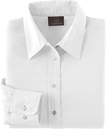 6abe2c1a Harriton Womens Long-Sleeve Oxford with Stain-Release (M600W) at Amazon  Women's Clothing store: Button Down Shirts