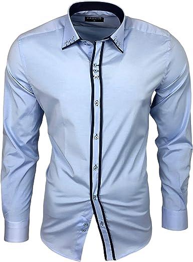 Baxboy B-500 - Camisa de manga larga para hombre, para negocios, tiempo libre, bodas, plancha, ajustada Azul Claro/Azul_1 M: Amazon.es: Ropa y accesorios