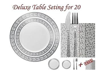 95e268a7e77127 Decorline-Vaisselle de luxe à usage unique-Couleur blanc avec bord motif  argent gaufré