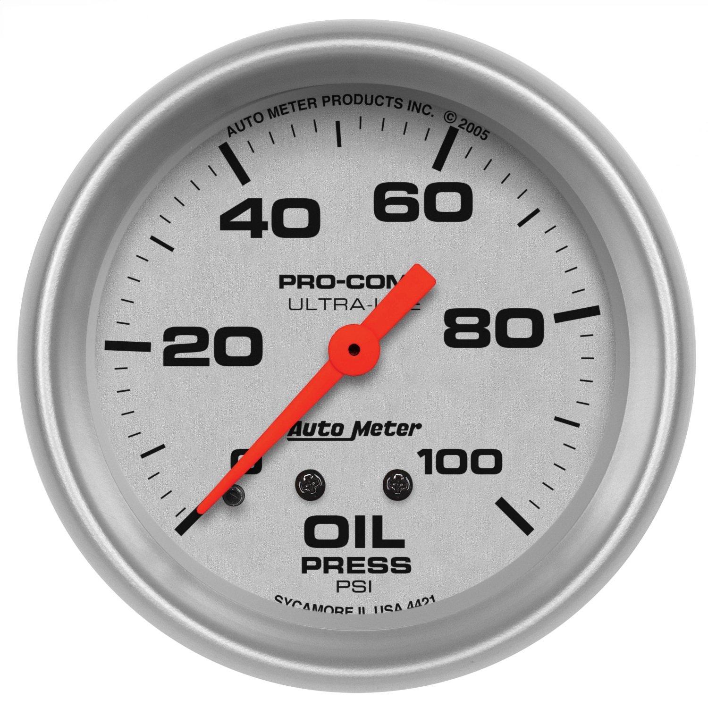 Auto Meter 4421 Ultra-Lite Mechanical Oil Pressure Gauge by Auto Meter