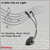 Hellion Portable Flexible 4 LEDs Orchestra Piano Music Stand Light, Clip-On Night Reading Lamp, Clips Onto Desk, Laptop, Books, Bed Headboard, 360 Degrees Adjustable Dual Gooseneck, Dimmable Modes with 2 level of Brightness, USB or Batteries Powered (USB Cable Included), Colour: Black [Energy Class A+++]