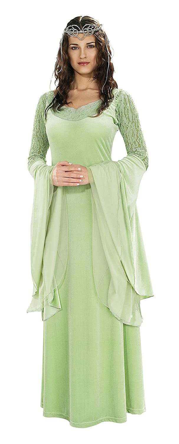 amazoncom rubies costume lord of the rings deluxe queen arwen dress and tiara green one size clothing - Green Halloween Dress