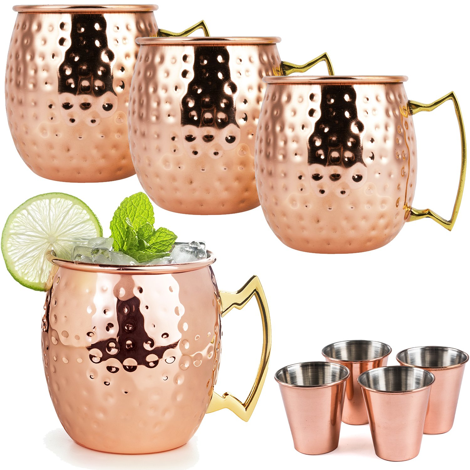 Moscow Mule Copper Mugs - 8 Piece Set - Mule Mugs Set of 4 with 4 Copper Shot Glasses Set of 4 - Pure Copper, 16 Ounce Mugs, Hammered Finish - Moscow Mule Gift Set by Colleta Home