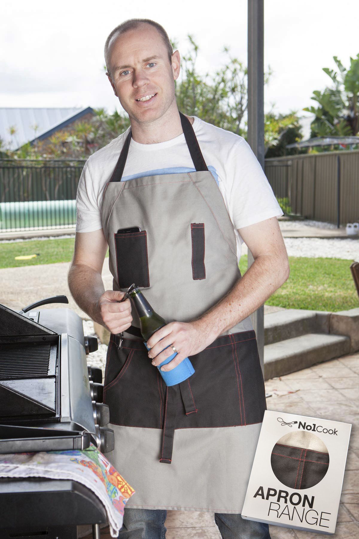 No1Cook Men's Grilling Apron by Durable, sturdy, modern design and plenty of pockets for bbq use; perfect grilling apron for dad. Detachable bottle opener for the thirsty Grill Master by No1Cook
