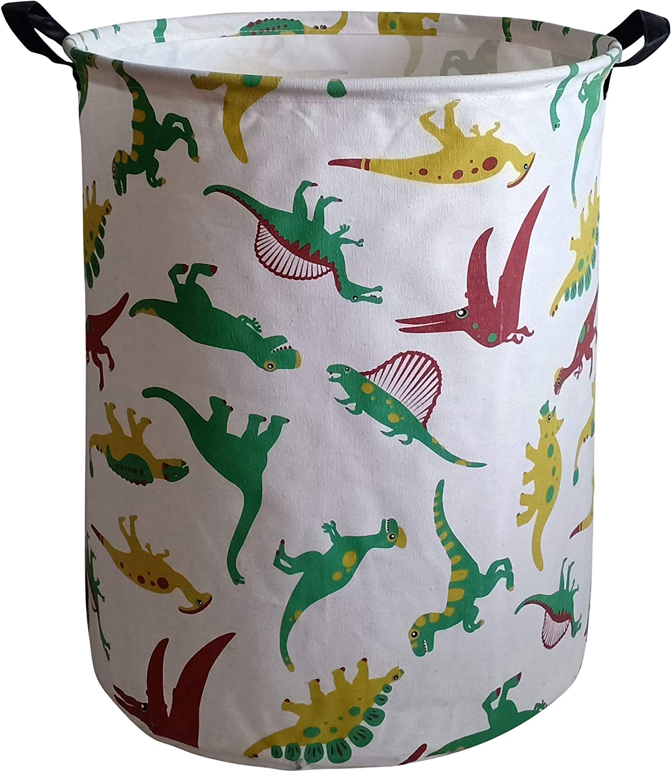 KUNRO Large Sized Storage Basket Waterproof Coating Organizer Bin Laundry Hamper for Nursery Clothes Toys (Dinosaur)