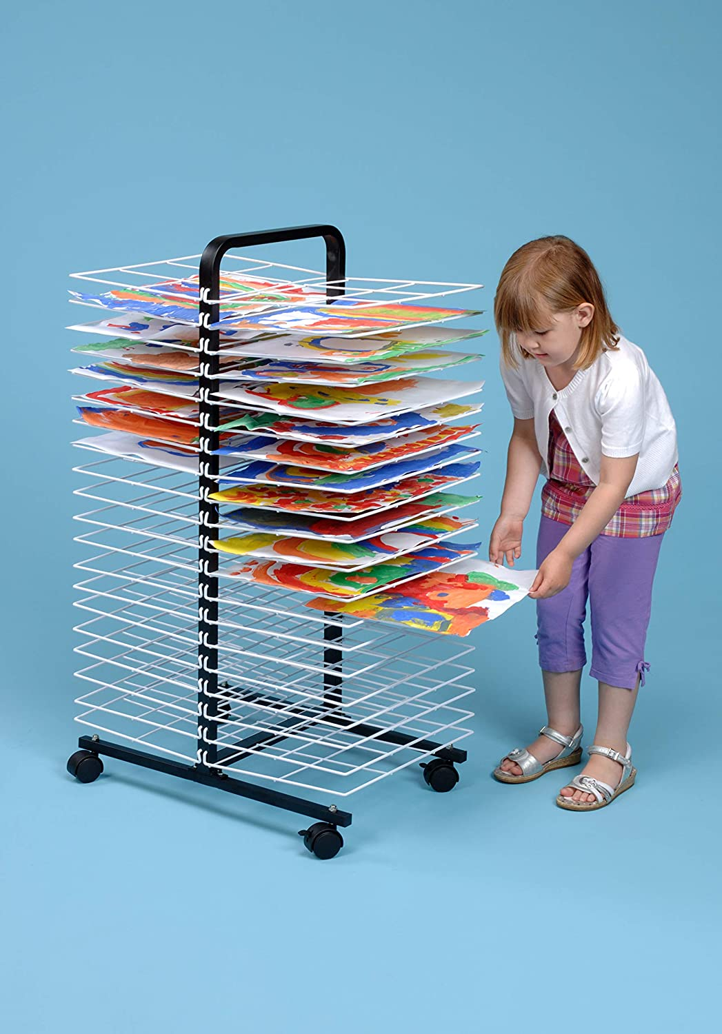 American Educational Products A-C1168 Drying Rack on Wheels 7 Height 18 Wide 40 Shelf 48 Length