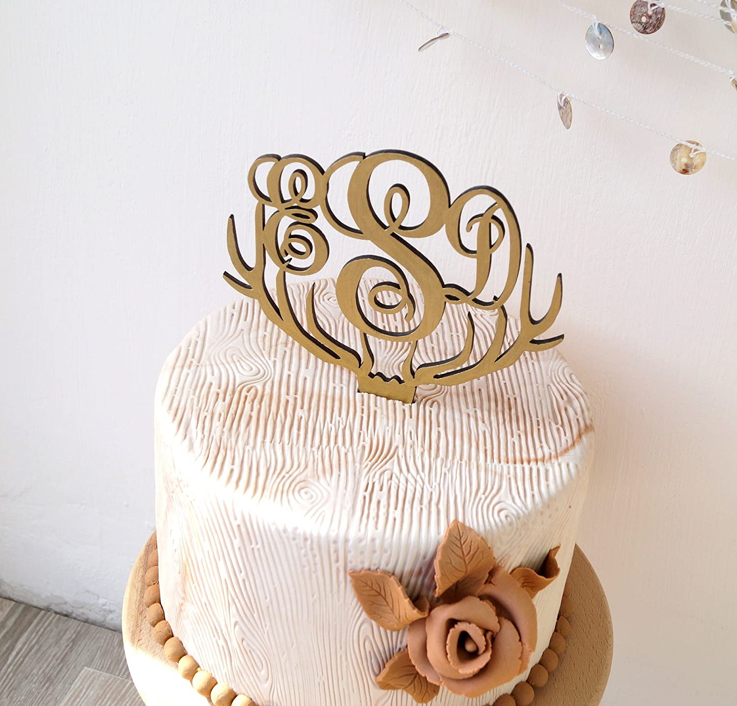 Amazon Monogram Wedding Cake Topper Deer Antler Rustic Wooden Handmade