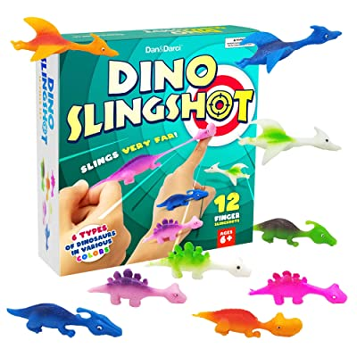 Dan&Darci Dinosaur Rubber Finger Slingshots - 12 Pcs - Dino Novelty Gifts Toys - Funny Gifts for Kids or Anyone - Fun Games: Toys & Games