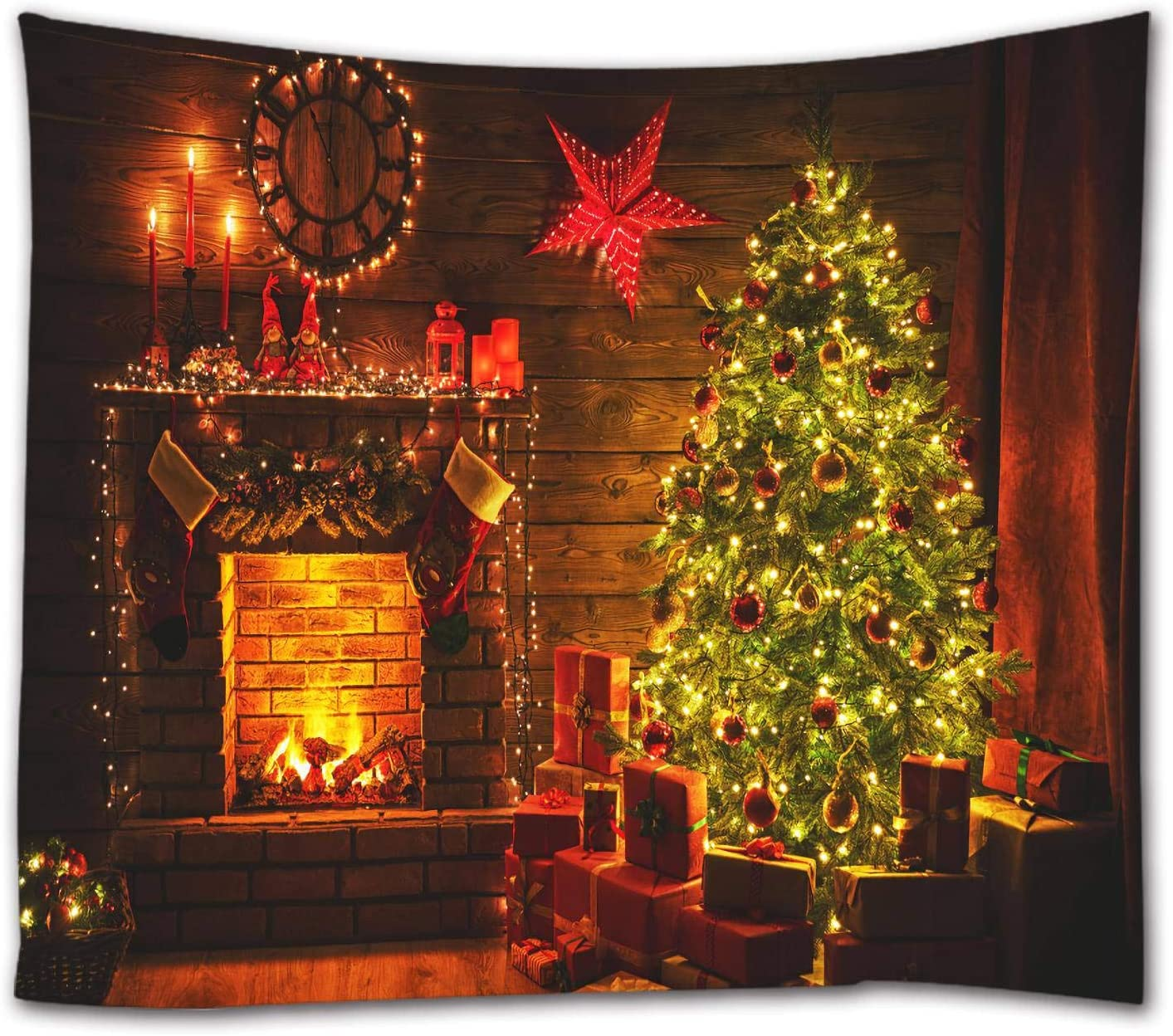 ELELIFE Xmas Wall Tapestry Christmas Tree Fireplace Gifts at Night Wall Hanging Tapestry for Holiday Photography New Year Wall Deocr for Bedroom Nursery Dorm