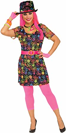 2fa250b2590 Amazon.com  Forum Novelties Women s 80 s Neon Flower Party Dress ...